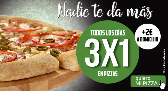 3x1 en pizzas en Pizza Móvil