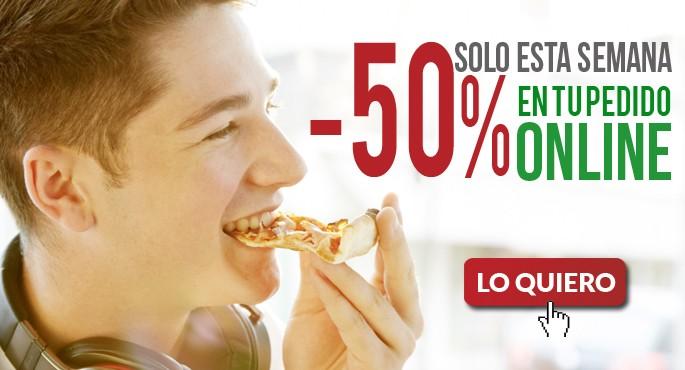 Descuento de 50% en Pizza Móvil